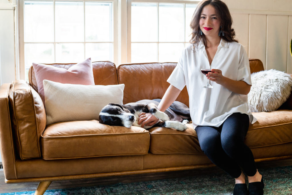 Dog friendly | leather couch | holiday entertaining